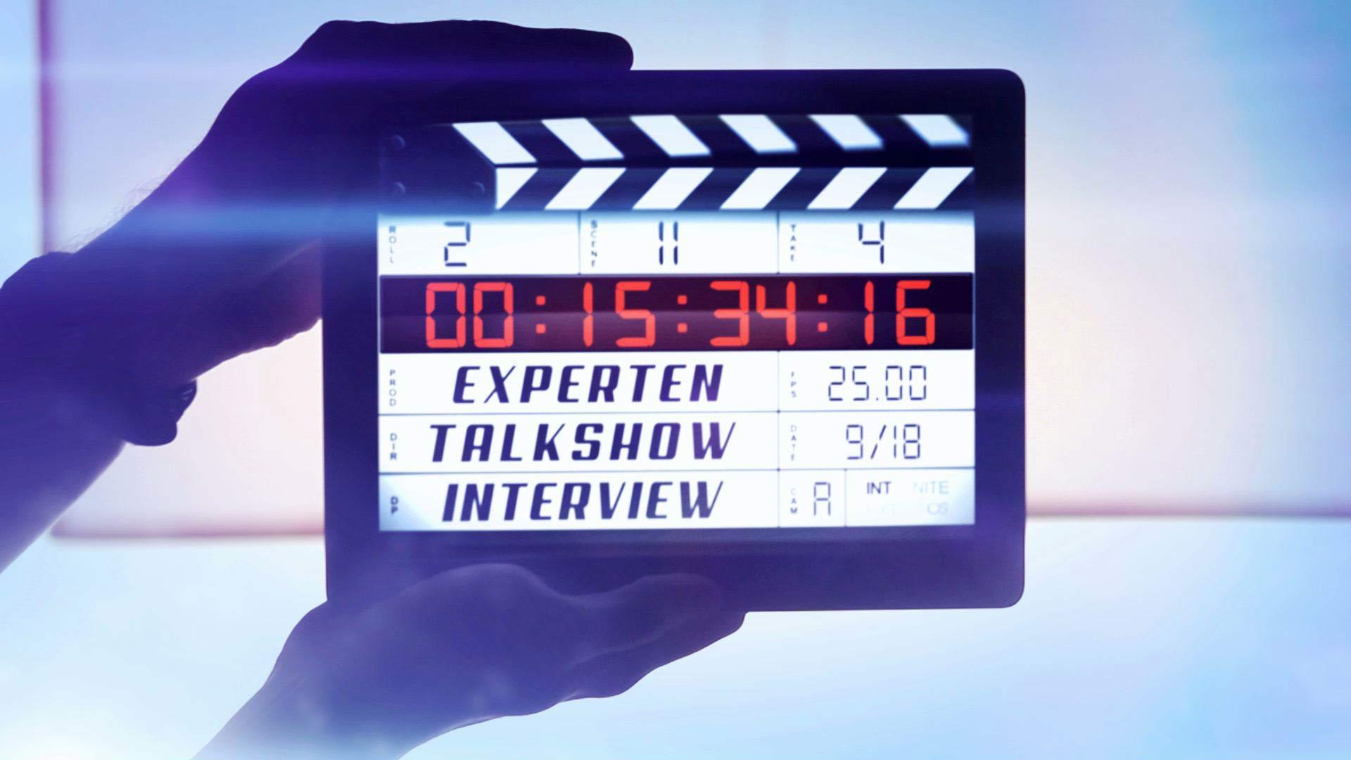 Expertentalkshow: Studioproduktion / Filmklappe